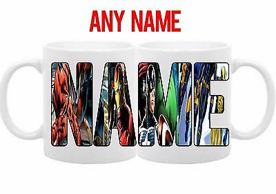 New Marvel Personalised Text Any Name Colours Birthday Gift Coffee Mug Tea Cup