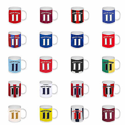 New Personalised Football Any Team Any Name Number Colours Birthday Gift Mug Cup