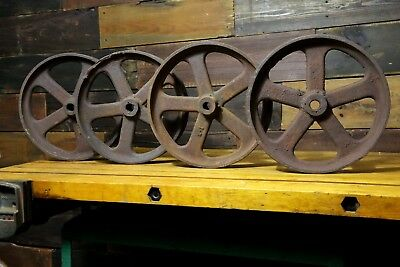 antique cast iron wheels set of 4 railroad cart hit miss engine industrial table