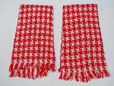 PAIR Handwoven Christmas Holiday Hand Kitchen Towel Red and White Cotton? EUC