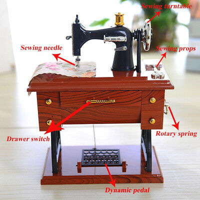 Toy Miniature Sewing Machine Music Box Antique Vintage Gifts Doll 12*7.7*16cm