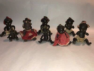 Lot Of 9 Vintage Black Americana Bisque Jointed African American Baby Doll Japan