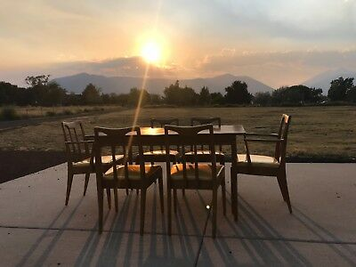 Mid Century Modern Drexel Dining Set   Table  2 Arm Chairs  4 Side Chairs