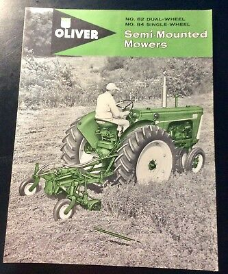 1960 Oliver Tractor Semi- Mounted Mowers Sales Literature Catalog Brochure NOS