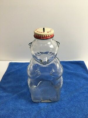 Vintage Salem, Ma Glass Snow Crest Beverage Syrup Bottle Bear Bank !