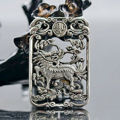 Collectable Tibet Silver Hand Carved Auspicious Beast (Kylin) Amulet a4039