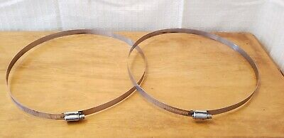 """Heavy Duty Lot(2) Ideal 12"""" Powr Gear Stainless Hose Band Duct Clamps. 11-13""""."""