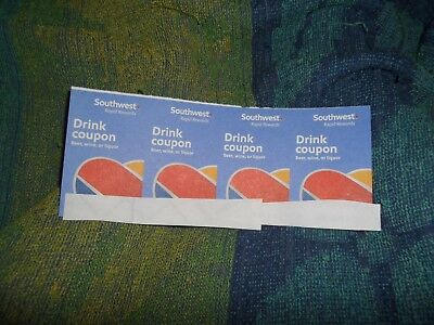 Southwest Airlines 4 qty.Drink Coupon Vouchers for: Beer, wine or liquor