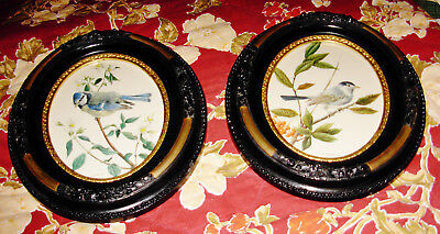 2 Vintage Victorian Style Oval Picture Frames Birds