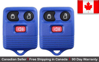 2x New Replacement Keyless Entry Blue Remote Control Key Fob Ford Lincoln Mazda.
