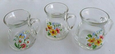 Set of 3 Flowered, Heavy Glass Decorative Mini Pitchers