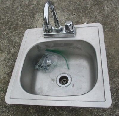 """15"""" x 15"""" Restaurant Commercial Stainless Steel Drop-In Hand Wash Sink + Faucet"""