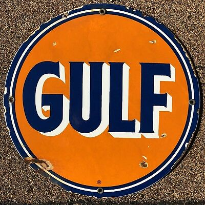 Gulf Gas Oil Porcelain Sign Service Station Pump Plate Vintage