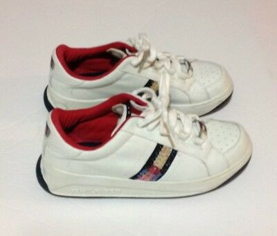 ca862b25e Tommy Hilfiger Womens 6M Sequin Flag Logo White Leather Sneaker Shoes  Vintage