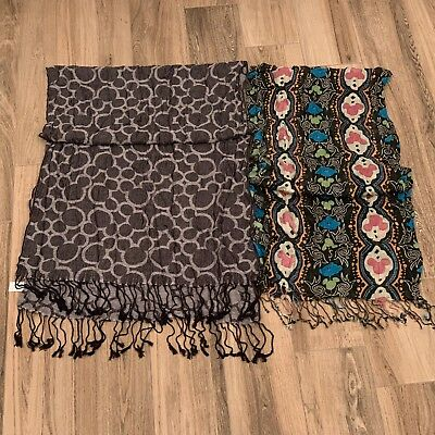 Authentic Disney Parks Hidden Mickey Fringe Scarf Lot of 2 ~ Free Shipping!