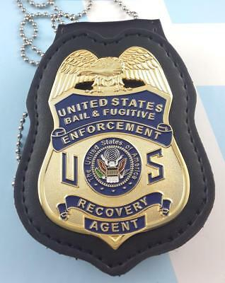 FUGITIVE  RECOVERY AGENT BADGE 2 1/2 WITH Custom LEATHER  holder blue US