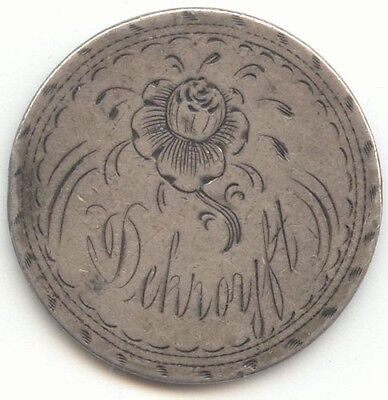 1857 Seated Liberty Quarter Love Token, Name D??? Flower