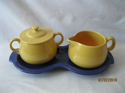 Vintage Fiesta Creamer, Sugar with lid and Figure 8 tray 1940's