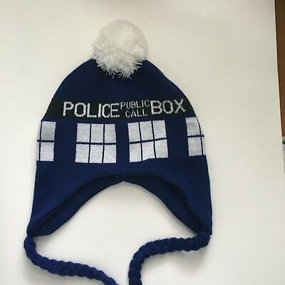 42d5789560d Doctor Who Tardis Laplander Beanie Knit Cap Hat Blue Police Call Box Adult