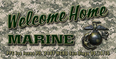Usmc Marine Corps Welcome Home Banner Poster Sign Camo
