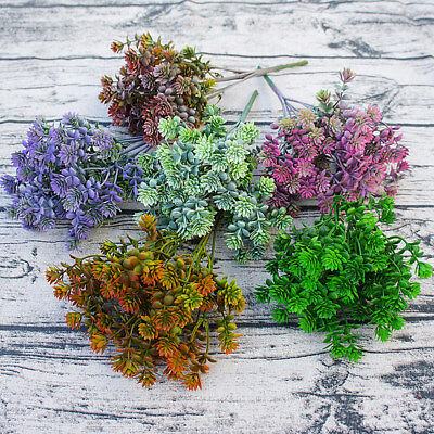 1 Bouquet Plastic Succulent Plants Artificial Fall Leaves Fake Flower Home Decor