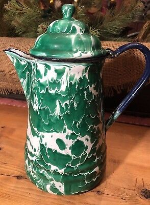 Nice Antique Emerald Green And White Swirl Coffee Or Tea Pot