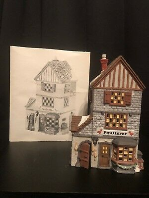 Poulterer Department 56 Dickens Village Series lighted house hand painted EUC