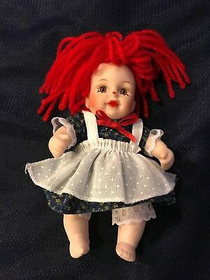 Effanbee Doll Raggedy Ann Porcelain Fully Jointed 6 inch Hand Painted