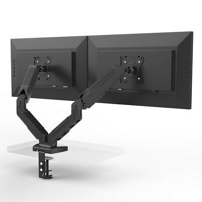 """Adjustable 2 Monitor Desk Mount Stand Gas Spring Swivel Arm Cable For 27"""" 14.3lb"""