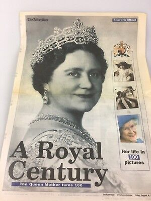The Advertiser Newspaper - Souvenir Liftout The Queen Mothers 100Th Birthday