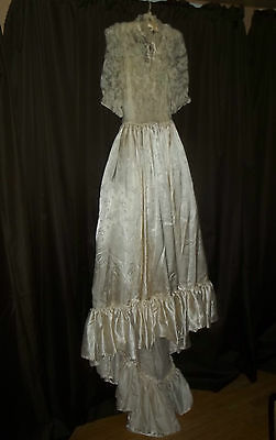 antique or vintage victorian look wedding dress gown lace on top bedroom display