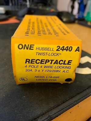 New Hubbell Twist Lock Receptacle 20A 125/250V Hbl7310B (Loc B8)