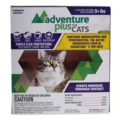 Adventure Plus for Cats 9 Pounds Up Spot On Flea Control 4 Month Supply