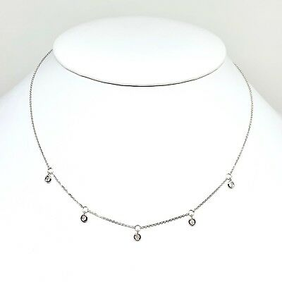 MSRP $1,390 Stunning 14 Kt White Gold Necklace With Five Diamond Pendants 16+2""
