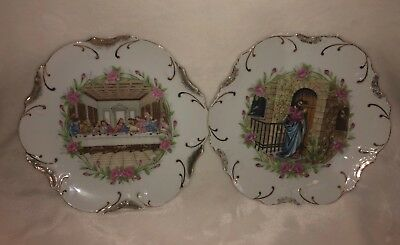 Lot of 2 Vintage 18K Gold Trim Catholic Collectors Plates, Made in Japan