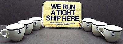 Shenango China white cup Blue Anchor 6 piece set with wood tight ship sign  GUC