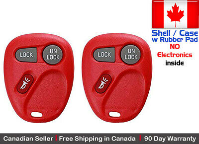 2x New Replacement Keyless Red Remote Key Fob Chevy Cadillac GMC - Shell Only