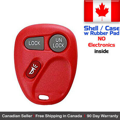 1x New Replacement Keyless Red Remote Key Fob Chevy Cadillac GMC - Shell Only