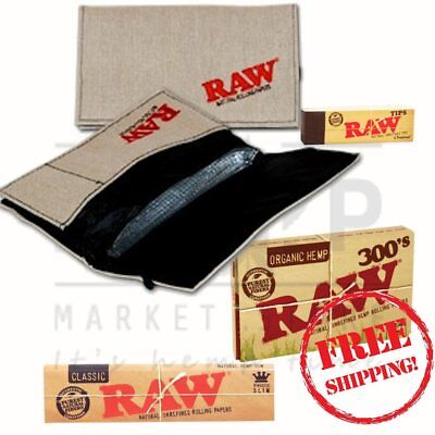 Raw Bundle Wallet Unbleached Tips Lighter Classic and 300's Rolling Papers