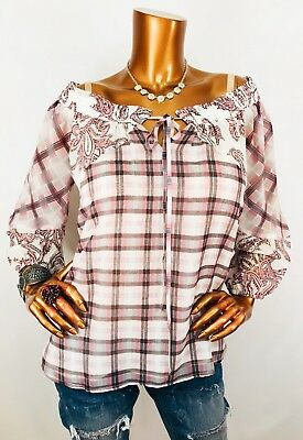 8c63f00e3c2218 Ann Taylor LOFT XS  59 Off Shoulders Top Blouse Paisley Heritage Checks NWT  3 4