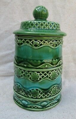 """Rare Lincoln Beautyware Ceramic Kitchen Canister 8 1/2"""" Green Mid Century Modern"""