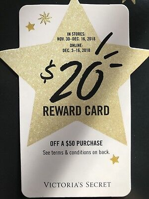 Victoria Secret Pink $20 off $50 Holiday Reward Card ONLINE USE ONLY