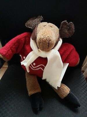 """Woof N Poof """"musical"""" Moose W/ Red Boucle Sweater Nwt"""