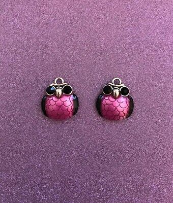 2 Silvertone Alloy with Pink Enamel and Rhinestone Owl Charms