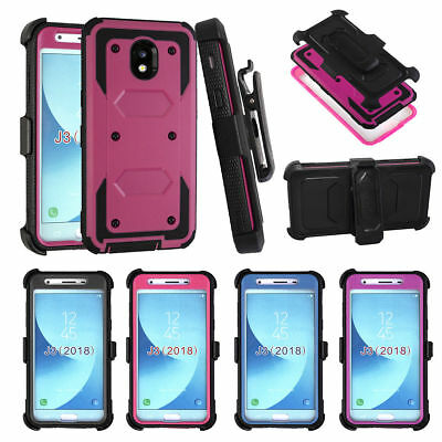 For Samsung Galaxy J3 2018/Star/Orbit Case With Kickstand Clip+Screen Protector