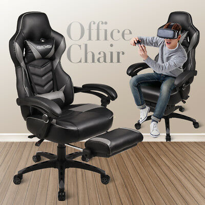 Racing Computer Gaming Chair Leather Recliner High Back Desk Seat Office Gray
