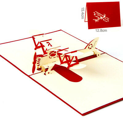 Airplane 3D card laser cut pop up blank holiday greeting cards gifts post cards.