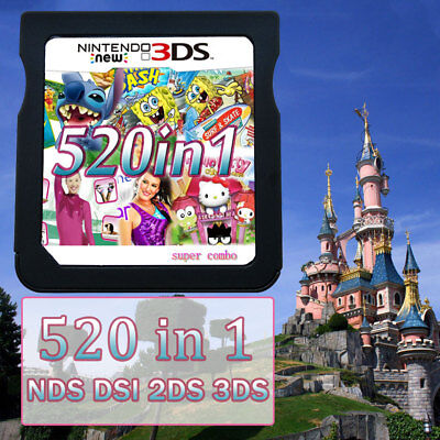 All Version Video Game Card 520 In 1 Cartridge Console for 2DS 3DS NDS NDSL NDSI