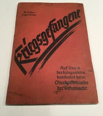 1939 WW2 German Poperty Of The Third Reich How To Treat Prisonor Of War POW Book