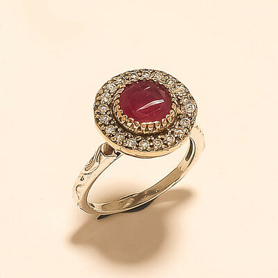 Natural Burmese Red Ruby Ring Turkish 925 Sterling Silver Tribal Old Jewelry New